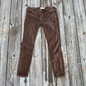 Free People Velour Velvet Brown Straight Leg Pants